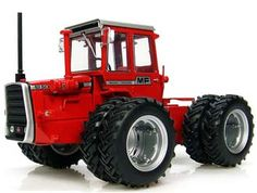 Massey Ferguson 1250 Dual Wheels Diecast Model Tractor by Universal Hobbies 2889 This Massey Ferguson 1250 Dual Wheels Diecast Model Tractor is Red and features working articulated body, wheels. It is made by Universal Hobbies and is 1:32 scale (approx. 15cm / 5.9in long).