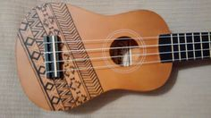 Hand Painted Aztec Pattern Soprano Ukulele by HollyFrancesArt