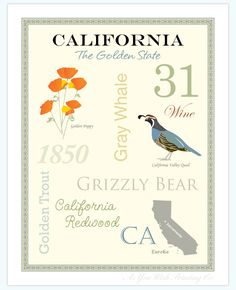California State Pride Series 11x14 Poster by AsYouWishPrinting, $19.50
