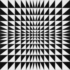 These black and white triangles creates a succesful and satisfying pattern and goes smaller to the center which also gives an illusion of movement. Op Art, Illusion Kunst, Illusion Art, Geometric Designs, Geometric Shapes, Art Design, Graphic Design, Quilt Modernen, Concrete Art