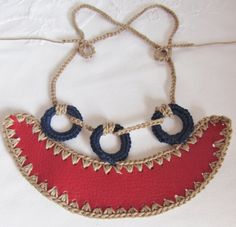 Crochet Necklace Pendant Faux Leather Nautical by StringandBrocade, $29.50