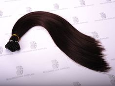Stick/I tip hair extensions with Euro texture cuticle remy hair and pre-bonded keratin, 20 inches long, color 2#. Long lasting and tangle free, easy to apply.