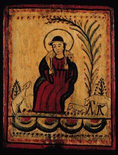 La Divina Pastora: The Virgin as Divine Shepherdess Retablo: Jose Rafael Aragon mid 19th century New Mexico