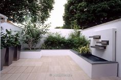 Roof Terrace Garden Design by Amir Schlezinger – Contemporary Terraces in London : White Roof Terrace With Metal Containers Planted With Zantedeschia Aethiopica ,betula Utilis Var Jacquemontii Designer, Water Feature. Design : Amir Schlezinger   My Landscapes