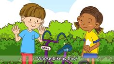 [Possessive] Whose bike is this? It's mine - Easy Dialogue - English educational animation for kids. Kids English, English Study, English Class, Learn English, English Vocabulary, English Grammar, Teaching English, Improve Your English, Educational Videos