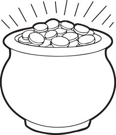 Free, printable coloring page for St. Patrick's Day of a big pot of gold! http://www.mpmschoolsupplies.com/ideas/4494/pot-of-gold-coloring-page-1/