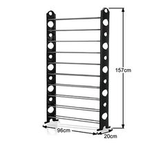 Black 50 Pair Stackable Shoe Storage Rack