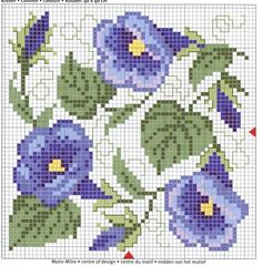 Cross-stitch Morning Glories Biscornu pattern... no color chart available, just use pattern chart as your color guide.. or choose your own colors...