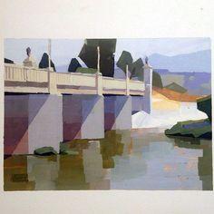 April Liu gouache, LA River