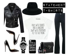 """""""Say What: Statement T-Shirts"""" by lolaaab ❤ liked on Polyvore featuring STELLA McCARTNEY, Christian Louboutin, Christian Dior, Maison Michel and Valentino"""