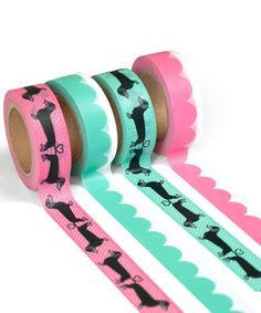 Bring a whimsical pop to gifts and crafts thanks to this washi tape set boasting charming graphics. Includes four tape m L eachWashi tapeImported Washi Tape Set, Duct Tape, Masking Tape, Planner Supplies, Planner Ideas, Art Supplies, Planning And Organizing, Decorative Tape, Dogs And Kids