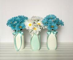 Spring Mason Jars-Set of 3 Shabby Chic Mason Jars-Home Decor-Wedding Centerpieces-Spring Decor-Vintage Decor-Shabby Chic Decor-White-Mint by EandSlittleShop on Etsy