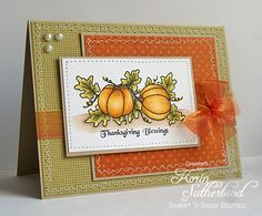 handmade card ... Thanksgiving Blessings AUG11VSNA by sweetnsassystamps  ... kraft,  rusty orange, olive and vanila ... luv the layout design and sweet pumpkin image ...