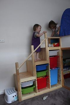 Turn Ikea Trofast storage into stairs for children's loft bed. I'm liking no toys in the bedrooms and want to keep it that way when possible but way cool idea for a play loft in the playroom someday...