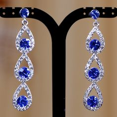 Deluxe Royal Blue Crystal Silver Teardrop Dangle Earrings Wedding Bridesmaids | eBay