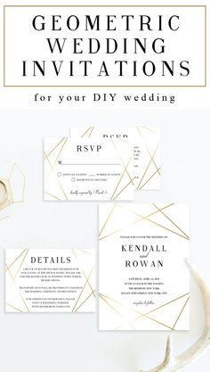 Give the perfect first statement of your big day to your loved ones with this classy geometric wedding invitation suite. The shimmering faux gold foil lines give the invitation set a luxurious look. // Geometric Wedding Invitation // Geometric Wedding The Modern Invitation Suites, Modern Wedding Invitations, Wedding Invitation Suite, Wedding Stationery, Invitation Set, Invite, Top Wedding Trends, Wedding Themes, Wedding Ideas
