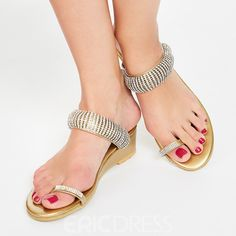 Women's Style Gladiator Sandals Golden Sequined Summer Sandals Flip Flop 2017 Fall Fashion Trends Cute Outfits Back To School Outfits Plus Size Fashion For Women for Big day, Hanging out High Heels Stilettos, High Heel Boots, Low Heels, Toe Loop Sandals, Flip Flop Sandals, Leather Wedge Sandals, Leather Wedges, Gladiator Sandals, Play Shoes