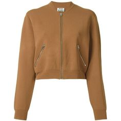 Acne Studios 'Olympia' jacket ($295) ❤ liked on Polyvore featuring outerwear, jackets, coats & jackets, tops, acne, brown, acne studios, long sleeve crop jacket, cropped jacket and brown cropped jacket