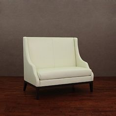 Lummi White Leather High Back Loveseat | Overstock.com- Great for a bench seating in breakfast nook
