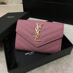 2016 YSL Small Monogram Envelope Wallet in Pink Grain De Poudre Textured Matelasse Leather