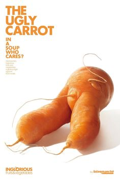 Every year we throw millions of tons of perfectly edible fruit vegetables away because it doesn't look right. Intermarche introduced a new sub-brand inglorious fruit vegetables: Ugly Carrot. Print Advertising, Creative Advertising, Print Ads, Advertising Ideas, Advertising Agency, Fruit And Veg, Fruits And Vegetables, Funny Vegetables, French Supermarkets