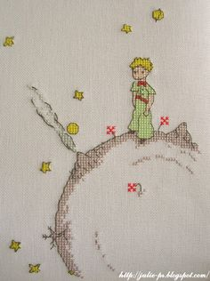 The Little Prince - Le Petit Prince Cross Stitch Love, Cross Stitch Charts, Cross Stitch Designs, Cross Stitch Patterns, Cross Stitching, Cross Stitch Embroidery, Embroidery Patterns, Hand Embroidery, Stitch Character