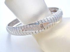 Italian-Sterling-Silver-Flexible-Bangle-Bracelet-Wide-925-Vintage-8-034-Diamond-Cut