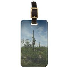 #Saguaro Cactus In The Desert Bag Tag - #travel #accessories