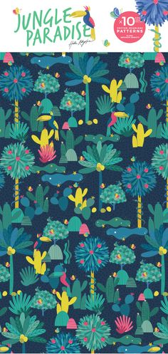 Welcome to the jungle!  Here is my new hand drawn vector patterns  Hand draw seamless jungle pattern. Include palm leaves, cactuses, tucans, snake, apple tree, jungle leaves, cute clouds. You can use it for your fabric, wallpaper, cards, blogs, magazines, wallpapers, background of web page, textile for kids goods etc. All patterns and illustrations are copyright of Hala Kobrynska ©