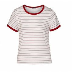 Ally Fashion Stripe contrast bind ringer tee (16 AUD) ❤ liked on Polyvore featuring tops, t-shirts, striped t shirt, white top, white stripes t shirt, white tee and stripe tee