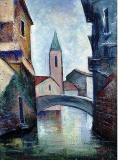 Carlo Carrà - Rio a Venezia, Oil on canvas, 55 x 40 cm. Italian Painters, Italian Artist, Italian Futurism, Modern Art, Contemporary Art, Futurism Art, Giacomo Balla, Mixed Media Sculpture, Art For Art Sake