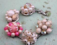 Pink Crystal Vintage Bracelet, Aurora Borealis, Cluster Earrings, Upcycled Jewelry, Recycled Repurposed, Wedding Jewelry, Handmade Upcycled @belmonili