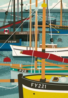 Mevagissey luggers illustration for Seasalt Cornwall by Matt Johnson. Vintage style illustration of traditional Cornish fishing boats.