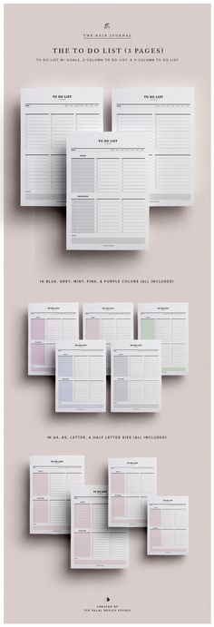 Daily To Do List Planner Printable - 3 Pages, Personal To Do List Planner Pages, Instant Download, To-Do List Planner Insert Daily Task list 3 Designs. 2 Column, 3 Column, Deadlines & Goals