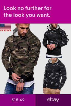 New Mens Winter Slim Hoodie Warm Hooded Sweatshirt Coat Jacket Outwear Sweater Nike Pullover Hoodie, Red Hoodie, Hoodie Jacket, Adidas Men, Nike Men, Adidas Camouflage, Hooded Sweatshirts, Hoodies, Mens Winter