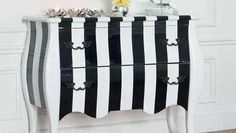 commode peindre rayures noires blanches graphique