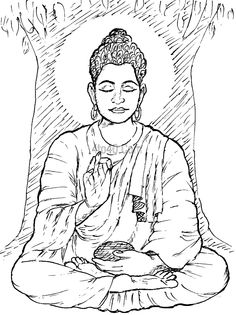 Religions Coloring Pages, Lord Gautam Buddha Coloring Page, Religions Coloring Book