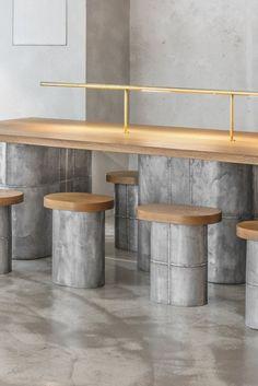 jeonghwa seo crafts brutalist concrete interior for etcetera cafe in seoul Cafe Interior Design, Cafe Design, Design Design, Modern Restaurant, Restaurant Interior Design, Concrete Bar, Concrete Interiors, Design Exterior, Decor Inspiration
