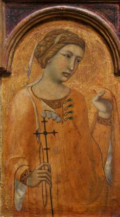 St. Agatha,1320-29 better image- pearl (?) buttons, loops with tassels (early frogs!) Reinette: Italian Gothic c. 1250-c. 1350