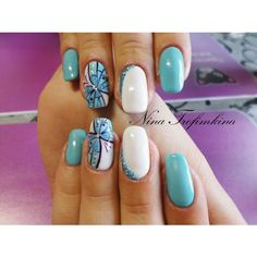 Beautiful nails 2016, Beautiful summer nails, Blue and white nails, Bright summer nails, Butterfly nail art, Fashion nails 2016, Gentle summer nails, Manicure by summer dress