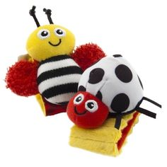 Complete with soft and whimsical bugs the Lamaze High-Contrast Wrist Rattles are ideal for encouraging the development of baby's hand-eye coordination. Just right for delicate wrists, these rattles work to stimulate baby's vision.