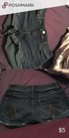 Jean booty shorts blue jean, booty shorts. worn a couple of times but still look new. they are to small for me Shorts Jean Shorts
