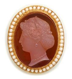 Carved Sardonyx Shell Cameo, Natural Seed Pearl And Gold Brooch c. Victorian