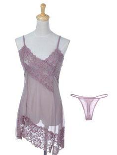 Anna-Kaci S/M Fit Mauve Light Purple Sheer Lace Asymmetrical Hem Chemise w Thong Anna-Kaci. $19.90