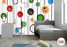 Fototapet Copii Angry Birds - VIODesign Angry Birds, Room, Furniture, Home Decor, Art, Character, Photo Wallpaper, Bedroom, Art Background