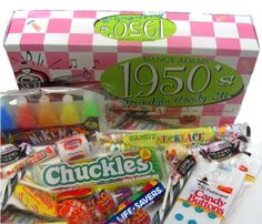 1950's Retro Candy Gift Box-Decade Box Gift Basket - Classic 50's Candy - 9.75OZ (276g) Nancy Adams http://www.amazon.com/dp/B003NYI8IQ/ref=cm_sw_r_pi_dp_xJlKtb1H5N2S73NN