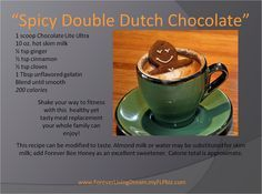 forever living recipe idea for an autumn/winter treat using chocolate ultra lite.
