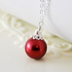 Christmas Jewelry Red Ornament Holiday Necklace Glass Pearl Wire Wrapped Sterling Silver Complimentary Shipping
