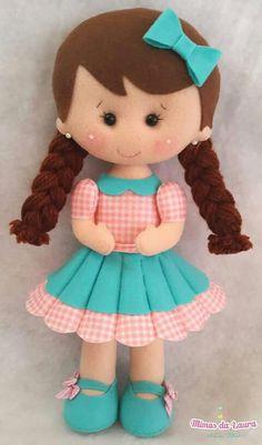 Girl w/Braids & Bow in Hair Felt Doll Patterns, Stuffed Toys Patterns, Doll Crafts, Diy Doll, Baby Mobile, Felt Baby, Sewing Dolls, Felt Toys, Soft Dolls