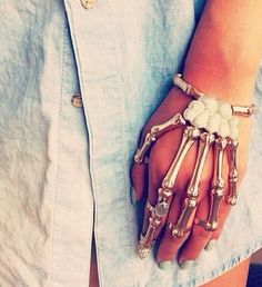 Gold skeleton bracelet + ring. This is badass.